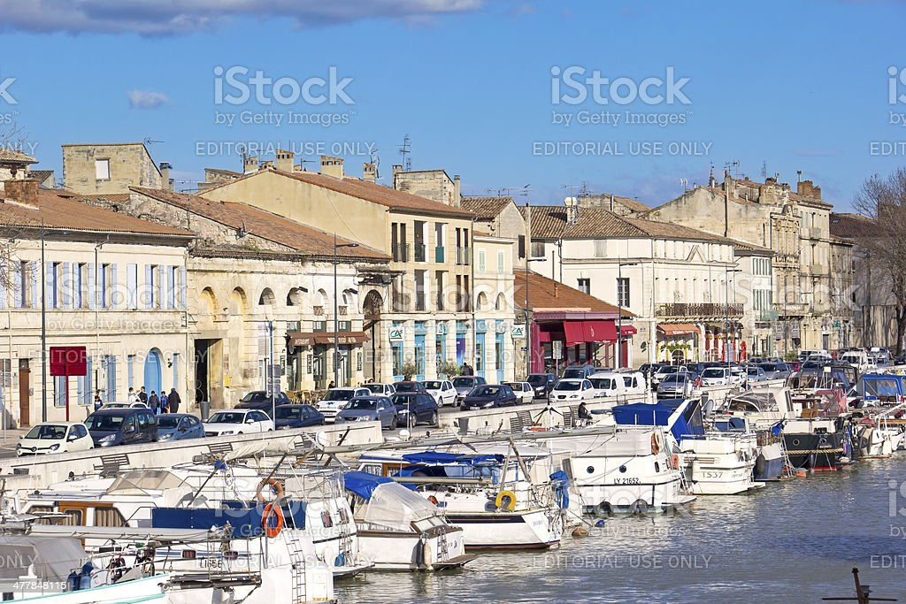 View to the harbor of Beaucaire stock photo