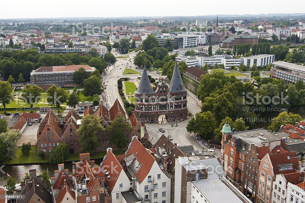 'View to the Holsten Gate in Luebeck, Germany' stock photo