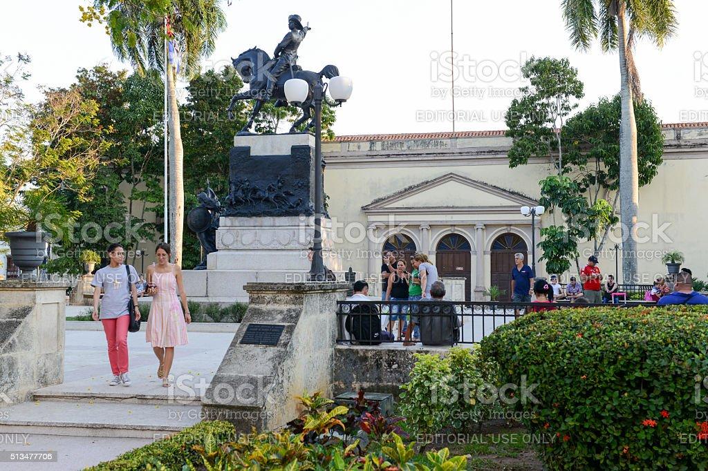 View to the Ignacio Agramonte monument stock photo