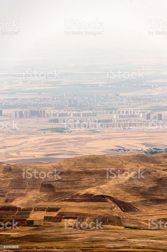 View to the Iranian city in the middle of desert stock photo