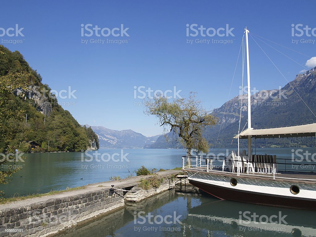 View to the lake and swiss alps stock photo