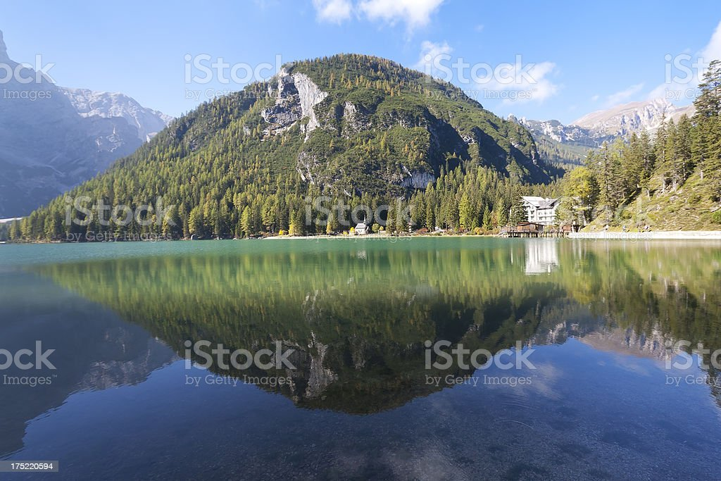View to the lake Pragser Wildsee stock photo