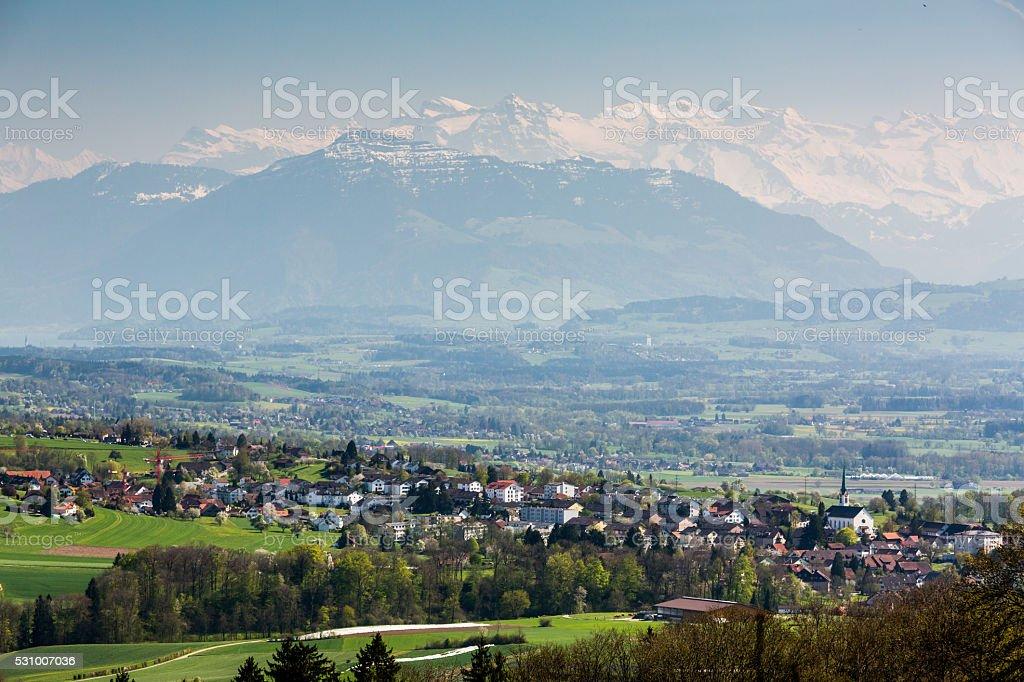 View to the Mountain Rigi stock photo