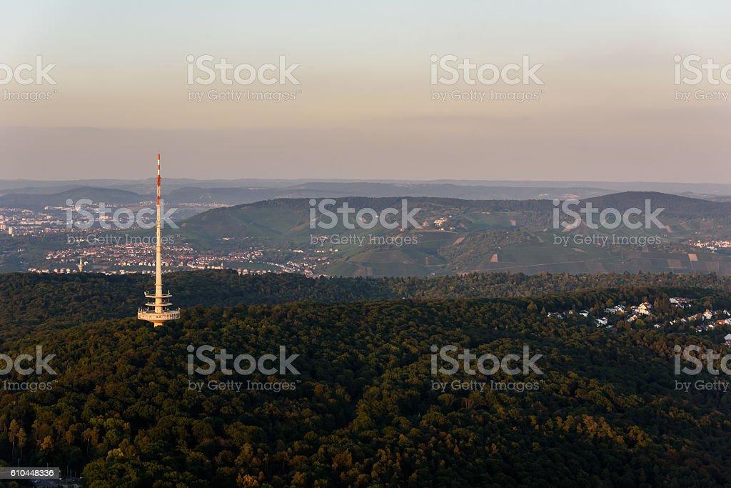 View to the Neckar Valley  at Frauenkopf, Hedelfingen and Obertuerkheim stock photo