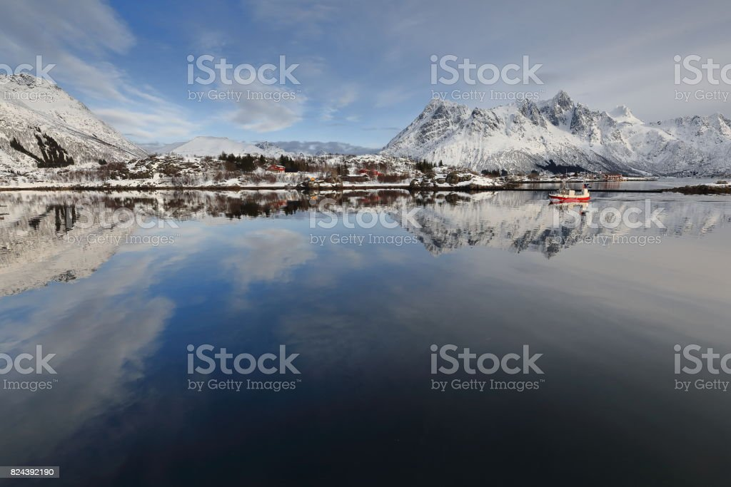 View to the NE.from the fishing port-Sildpolltjonna bay. Austnesfjorden-Austvagoya-Nordland-Norway. 0164 stock photo