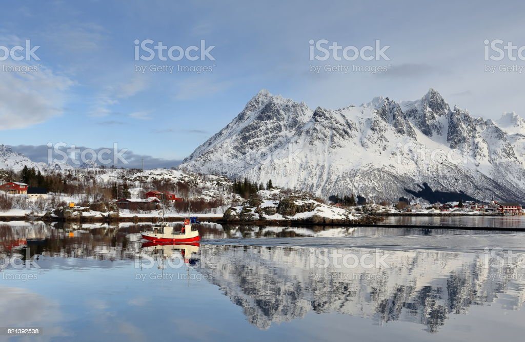 View to the NE.from the fishing port-Sildpolltjonna bay. Austnesfjorden-Austvagoya-Nordland-Norway. 0165 stock photo