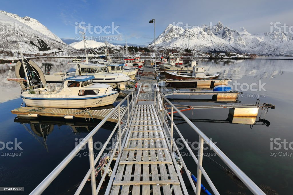 View to the NE.over the fishing port-Sildpolltjonna bay. Austnesfjorden-Austvagoya-Nordland-Norway. 0161 stock photo