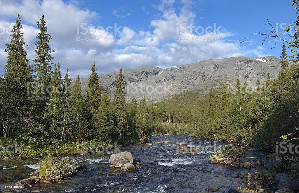 View to the Northern Chorrgor Pass in Khibiny Mountains stock photo