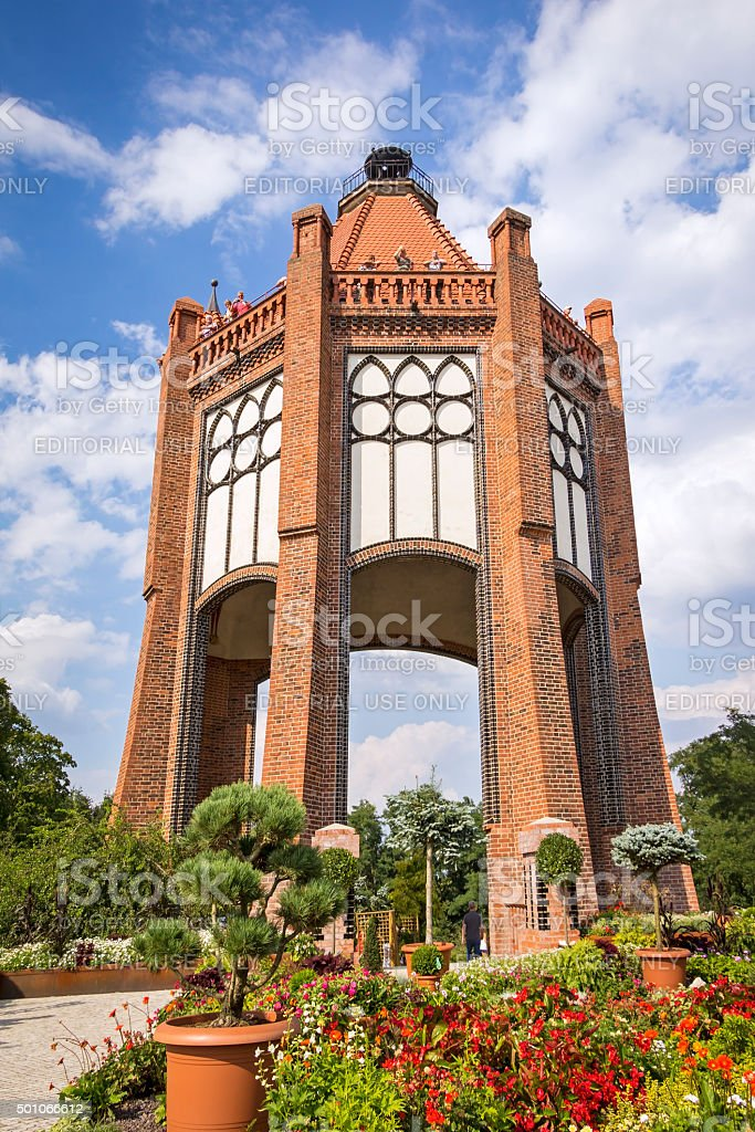 View to the old Bismarck tower in Rathenow stock photo