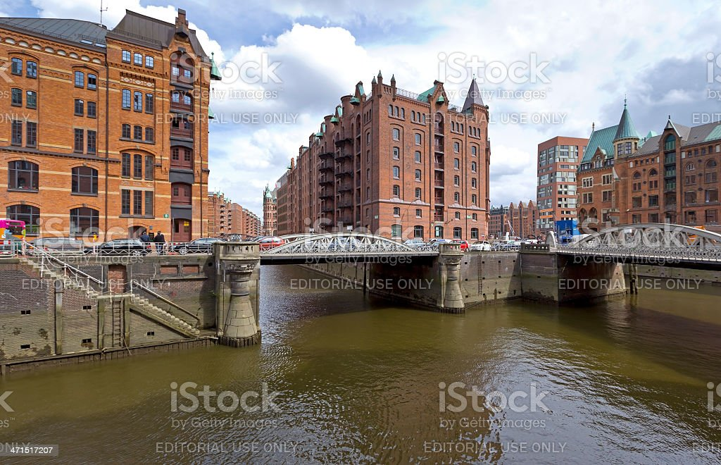 View to the old Warehouse District Speicherstadt stock photo