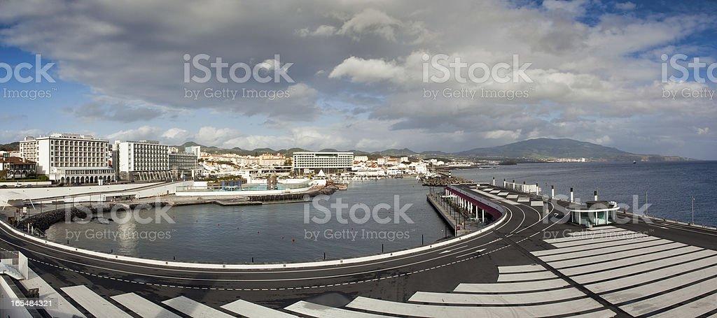 View to the Ponta Delgada city stock photo