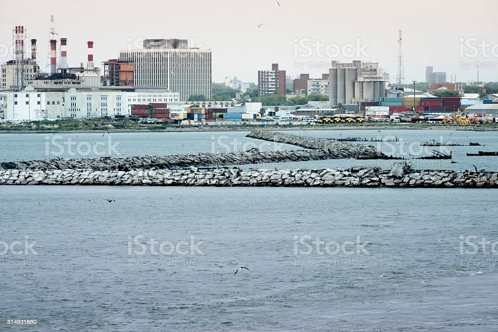 View to the port of Montevideo, Uruguay stock photo