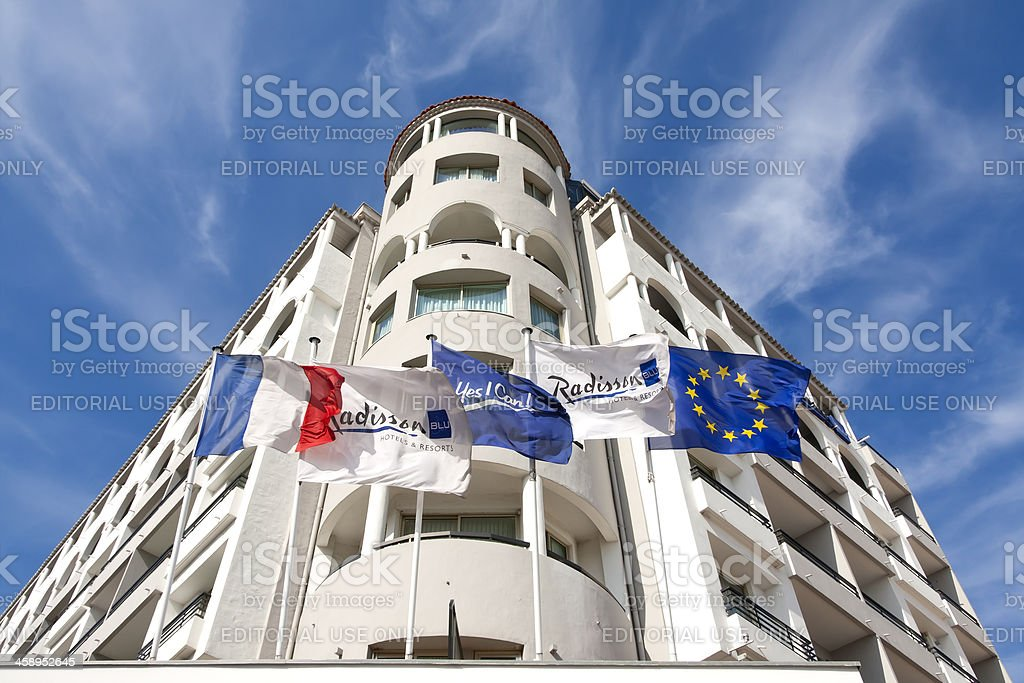 View to the Radisson Hotel, Cannes, France stock photo