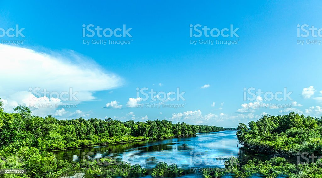 view to the river Mississippi with its wide river bed stock photo
