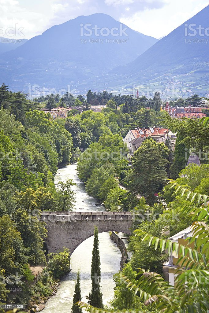 View to the River Passer in Merano, South Tyrol royalty-free stock photo