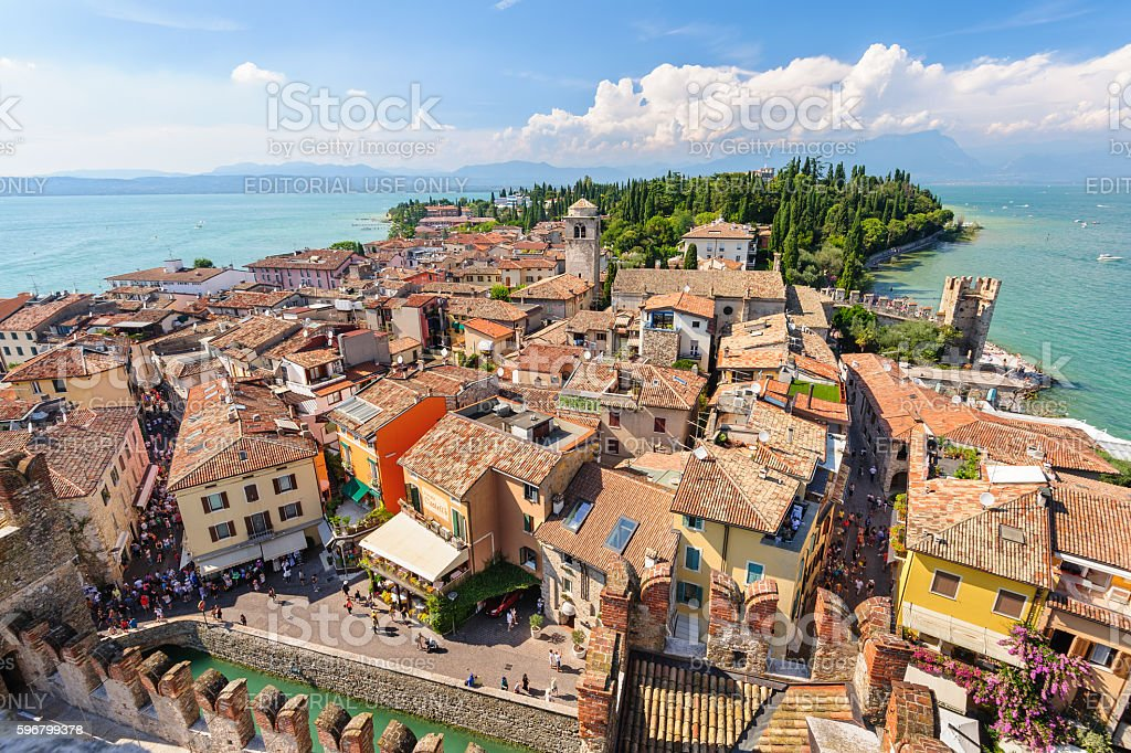 View to the Roofs of Sirmione and from Scaliger castle stock photo