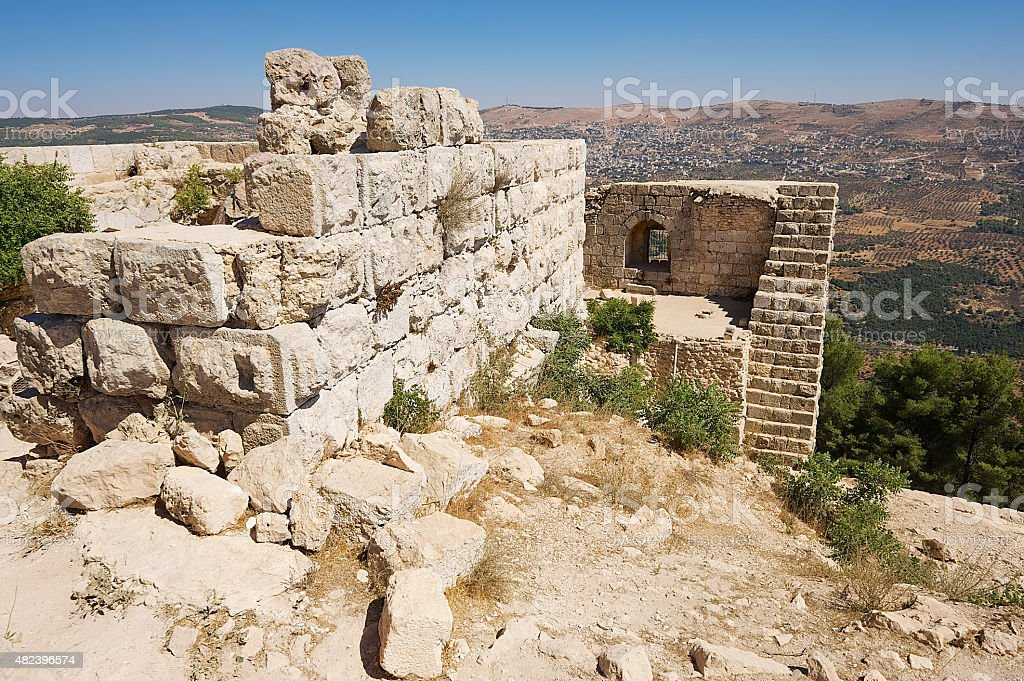 View to the ruins of the Ajloun fortress, Ajloun, Jordan. stock photo