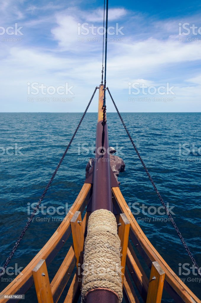 View to the sea from front mast stock photo