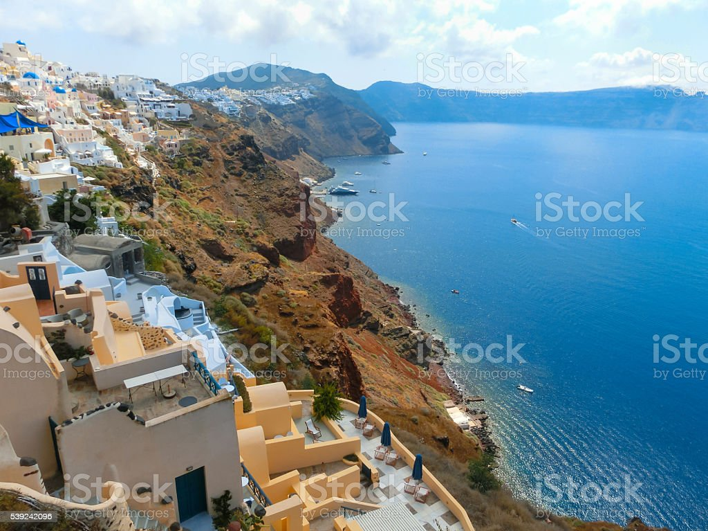 View to the sea from Oia village of Santorini island stock photo