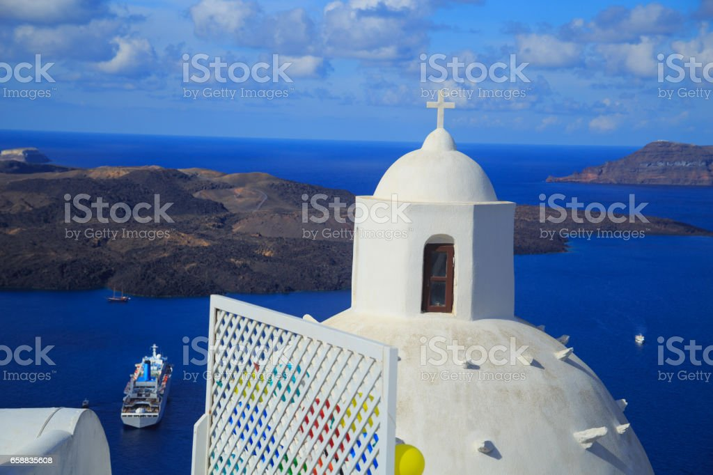 View to the sea of Oia, Santorini stock photo