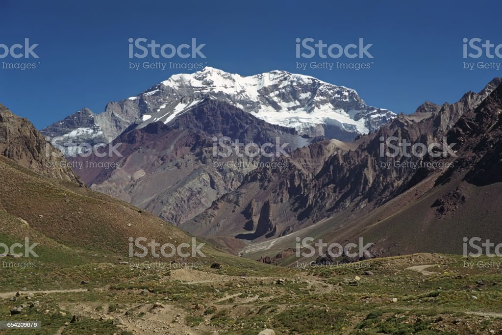 View to the South Face of Mount Aconcagua. stock photo
