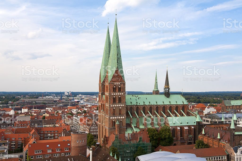View to the St. Mary's Church, Lubeck stock photo