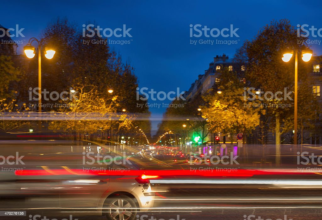 View to the street in Paris. stock photo