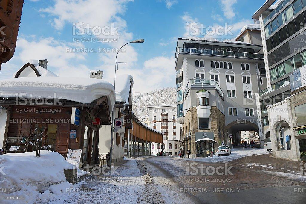 View to the street of St. Moritz, Switzerland. stock photo