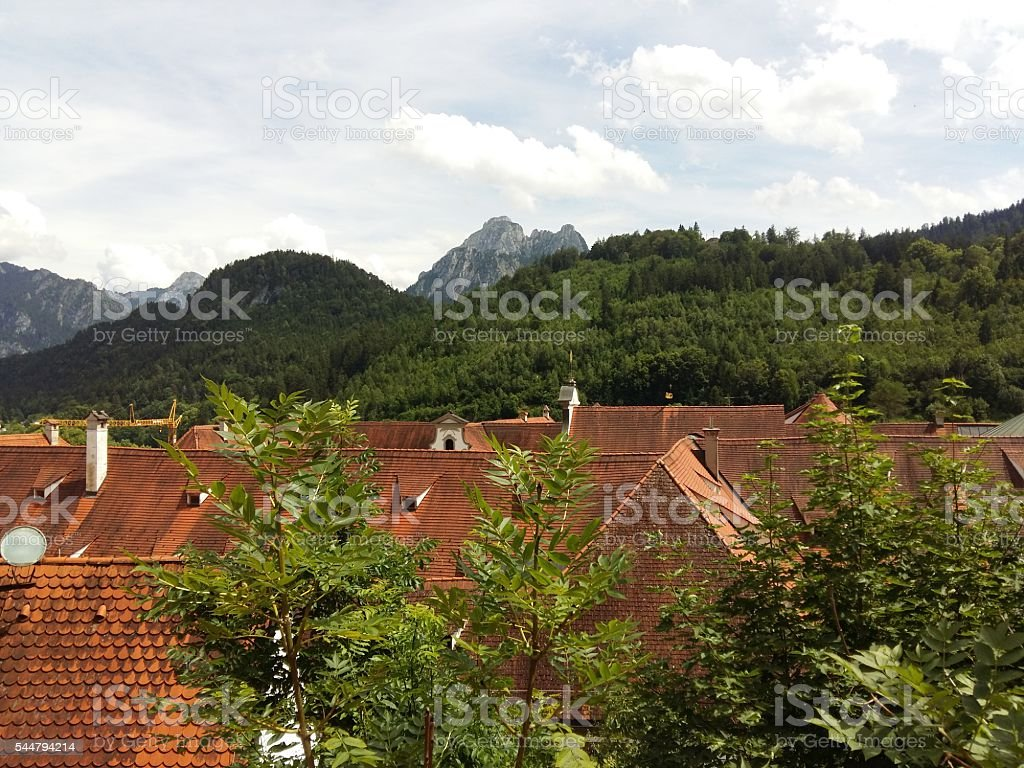 View to the Säuling over the roofs of Füssen stock photo