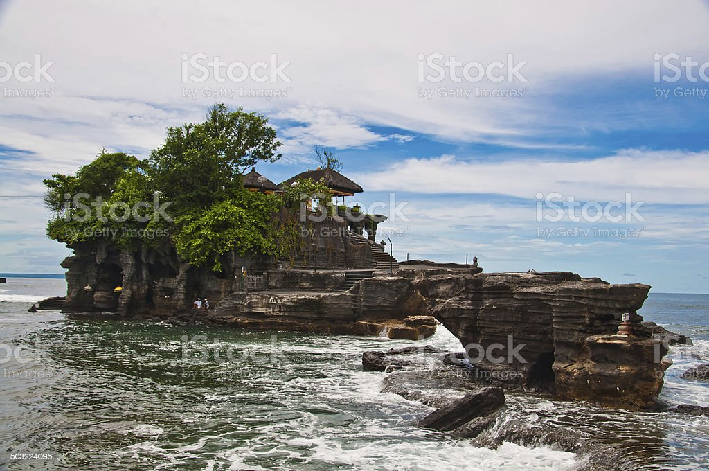 View to the Tanah Lot temple. Bali island, indonesia stock photo