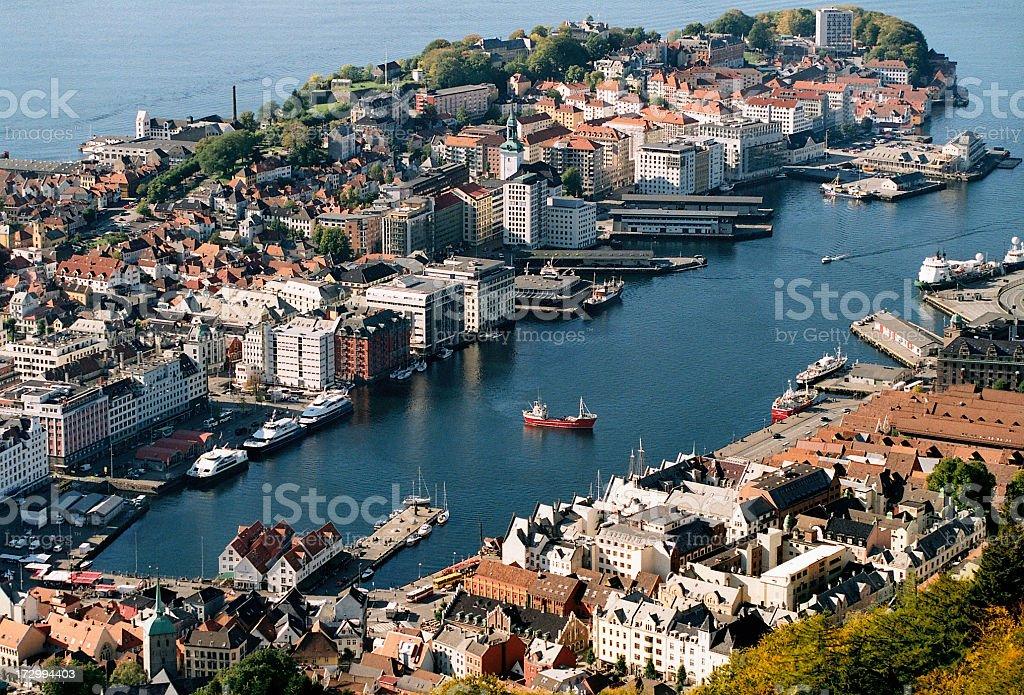 View to the Vaagen, Bergen Harbour stock photo