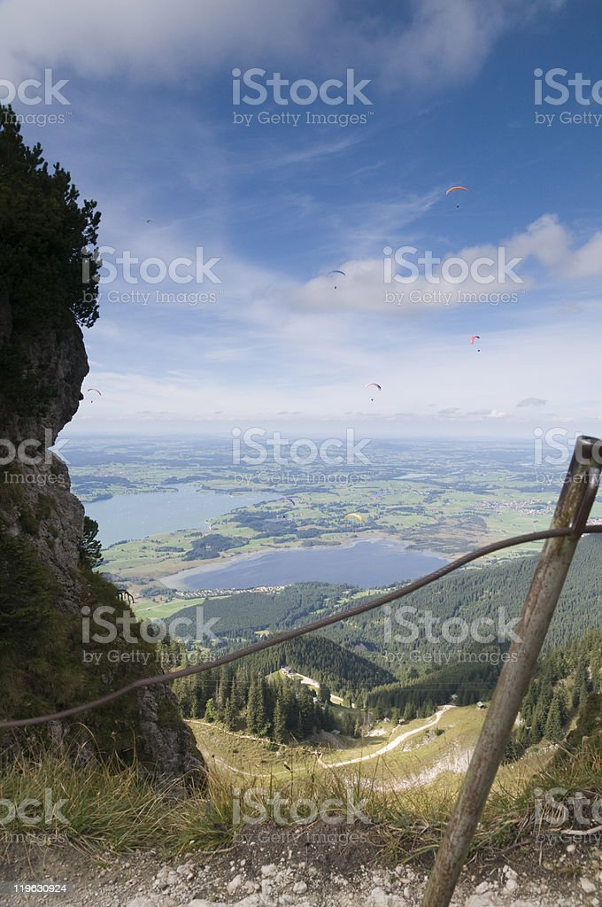 view to the valley with fence stock photo