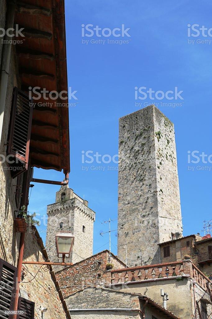 View to Torre Grossa in San Gimignano, Toskana Italien stock photo