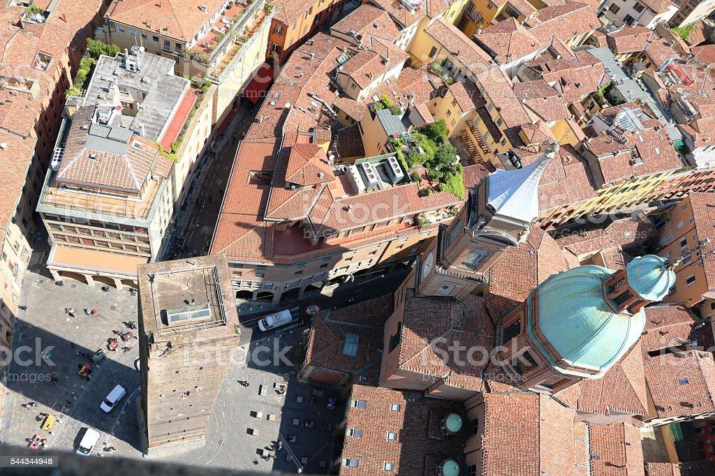 View to Tower Garisenda Piazza di Porta Ravegnana, Bologna Italy stock photo