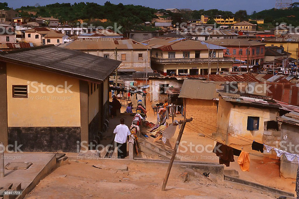 view to town (africa) stock photo