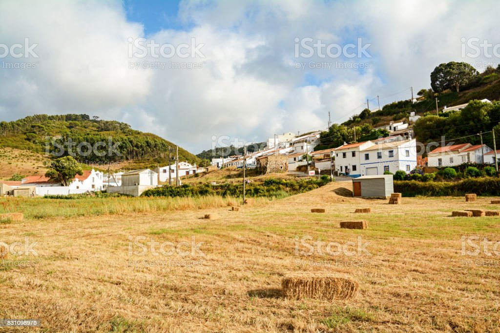 View to traditional houses in the village of Bordeira near Carrapateira, in the municipality of Aljezur in the District of Faro, Algarve Portugal stock photo