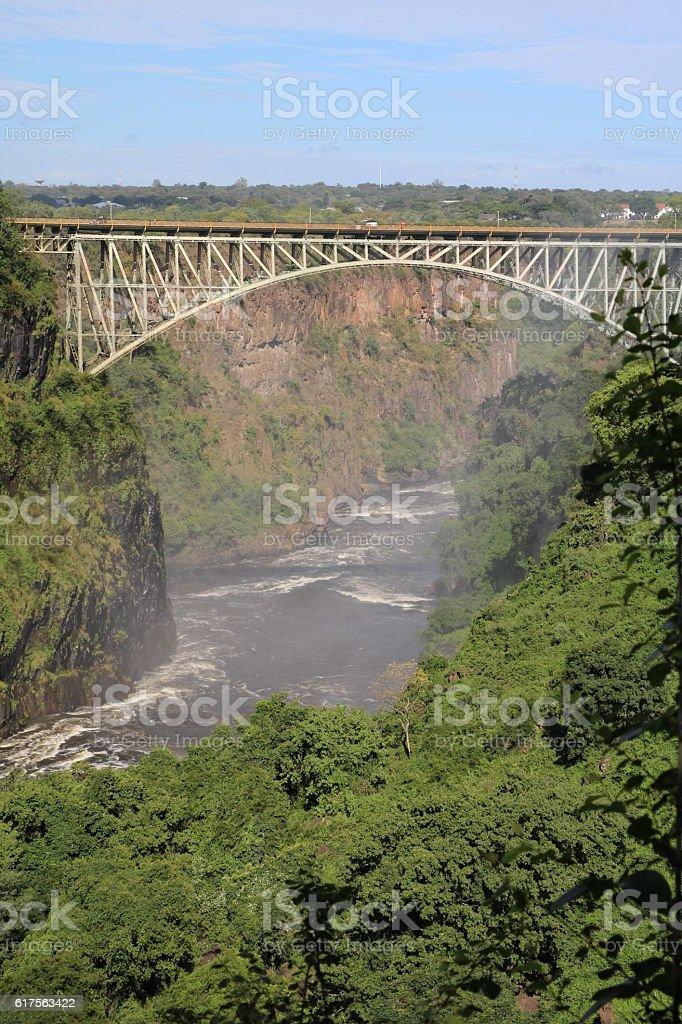 View to Victoria Falls Bridge in Africa stock photo