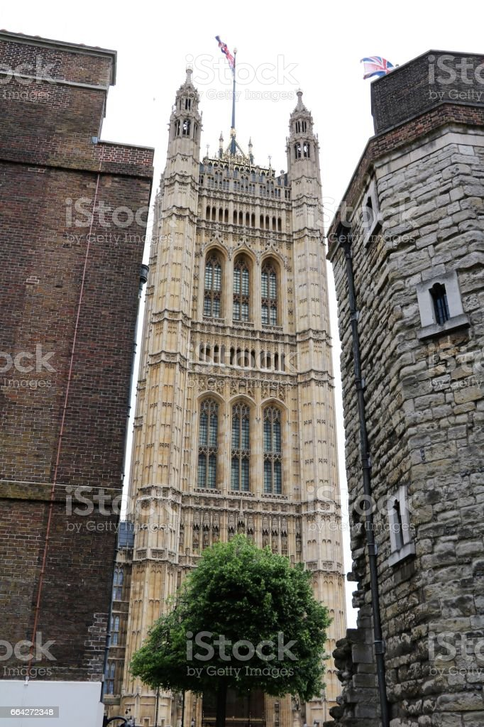View to Victoria Tower of Westminster in London, United Kingdom stock photo