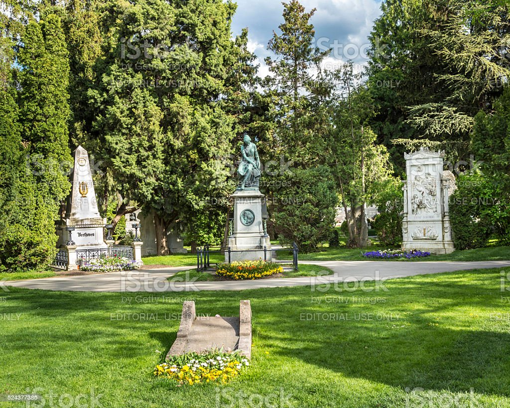 view to  Vienna Central Cemetery and old historic gravestones stock photo