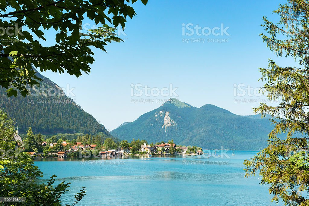 View to Walchensee and Jochberg stock photo