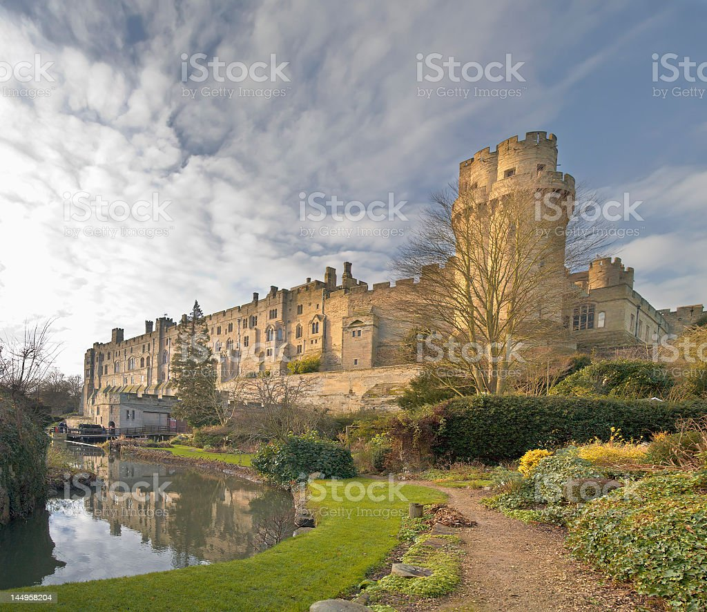A view to Warwick Castle on a cloudy day stock photo