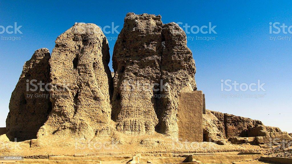 View to Western Deffufa temple in Kerma, Nubia Sudan stock photo