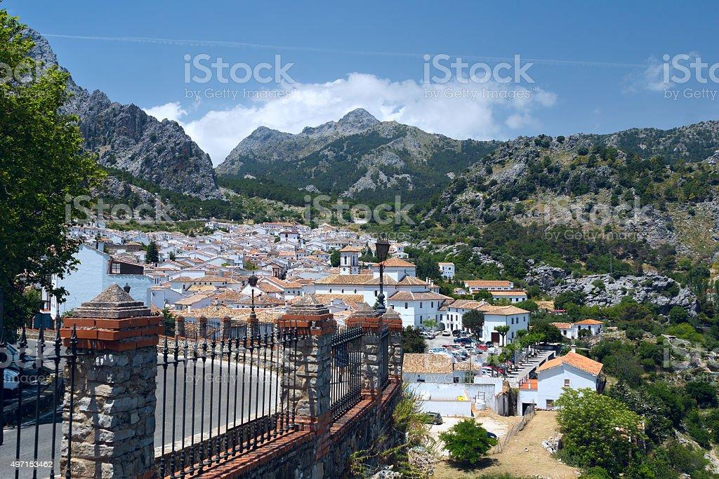 View to white village Grazalema in Andalucia stock photo