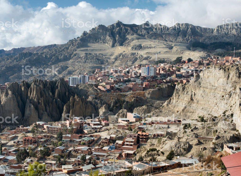 View toward El Alto in La Paz, Bolivia stock photo