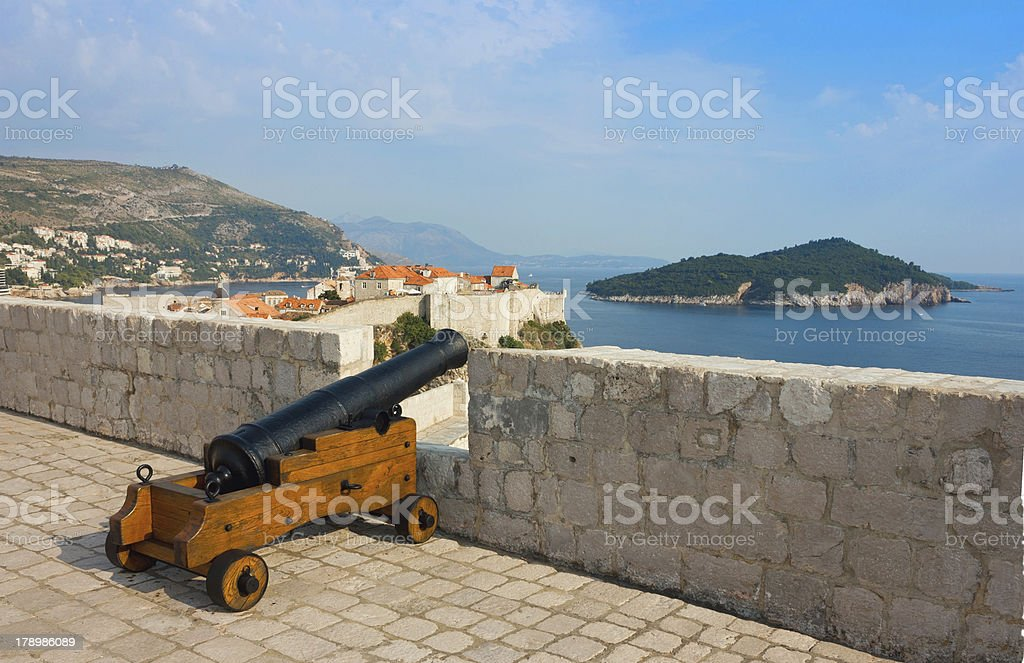 View toward old town Dubrovnik and island Lokrum royalty-free stock photo