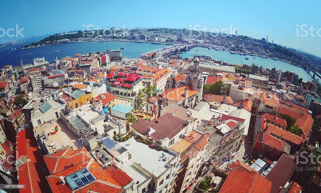 View towards Blu Mosque from the Galata Tower stock photo