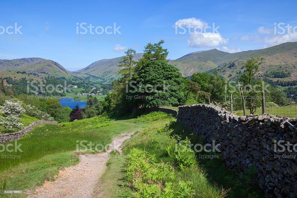View towards Grasmere, The Lake District, Cumbria, England stock photo