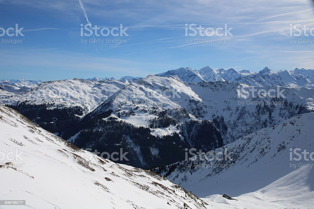View towards Grossglockner Mountain, Saalbach Austria stock photo