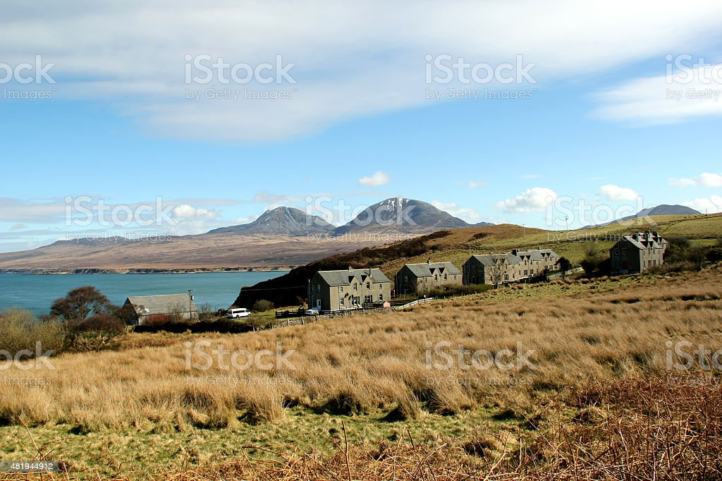 View Towards Jura from Bunnahabhain, Islay, Scotland. stock photo