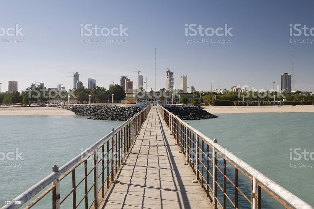 View towards Kuwait City from the Jetty stock photo